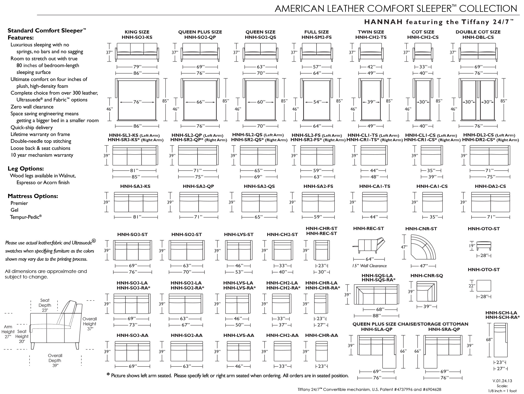 Schematic For American Leather Hannah Comfort Sleeper