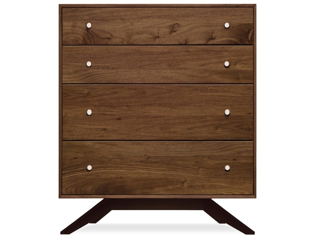 Astrid Modern 4-Drawer Chest, Solid Wood Walnut, made in Vermont