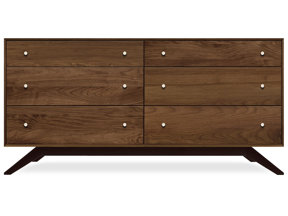 Astrid 6-drawer Dresser, Contemporary, Solid Wood Walnut, Copeland Furniture