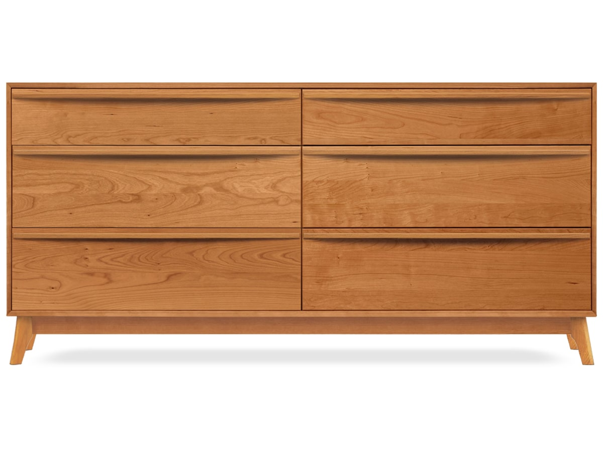 Catalina 6-drawer Dresser, modern, solid cherry, made by Copeland Furniture of Vermont