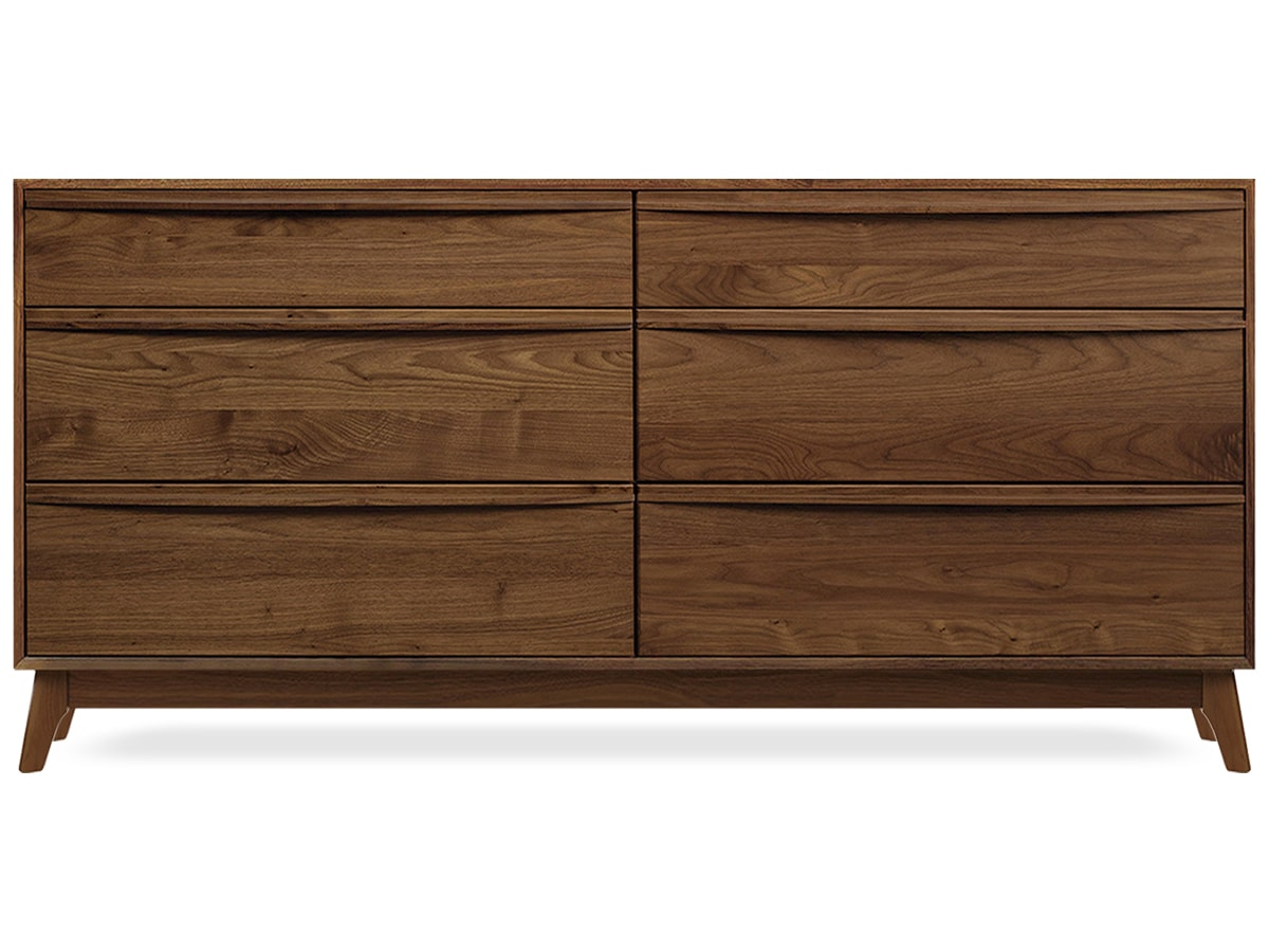 Catalina 6-drawer Dresser, modern solid walnut made by Copeland Furniture of Vermont