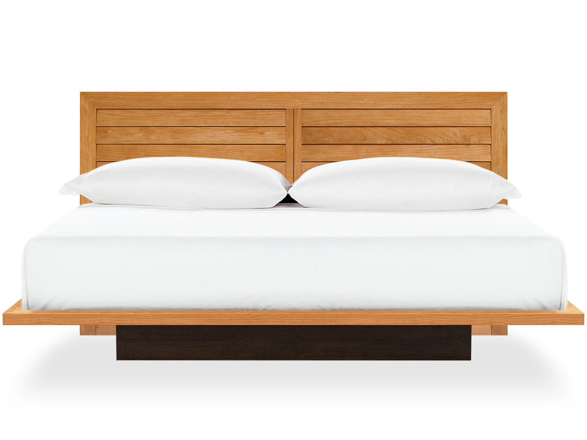 moduluxe platform bed in cherry with clapboard headboard