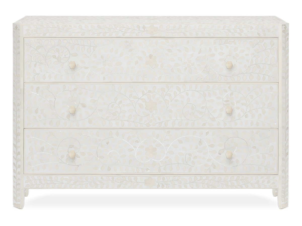 White Lexi Indian inlay 3-drawer Dresser, by Made Goods