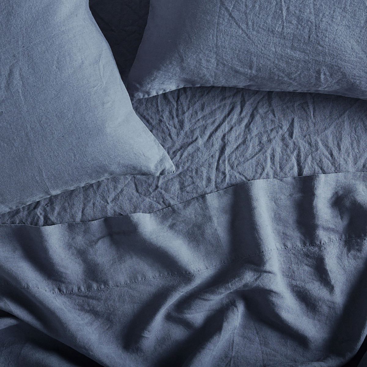 Organic Relaxed Linen Sheet Set in Harbor Blue by Coyuchi
